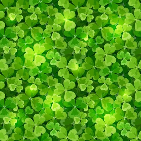 Vector St. Patrick's day seamless background texture with green shamrock leaves. Illustration