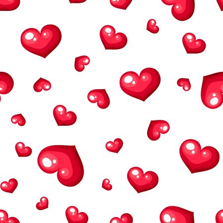 Vector Valentine's day seamless pattern with red hearts on a white background. Ilustração