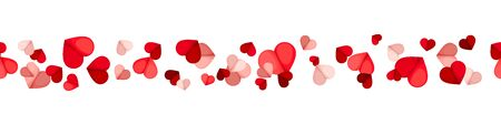 Vector Valentine's day horizontal seamless background with red and pink hearts on a white background. Ilustração