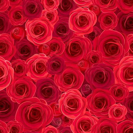 Vector seamless background with red roses.