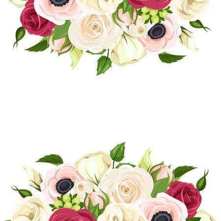 Fondo de vector con rosas rojas, rosadas y blancas, lisianthuses y flores de anémona y hojas verdes.