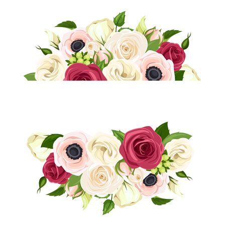 Vector banner with red, pink and white roses, lisianthuses and anemone flowers and green leaves.