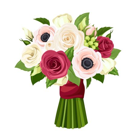 Vector bouquet of red, pink and white roses, lisianthuses and anemone flowers.