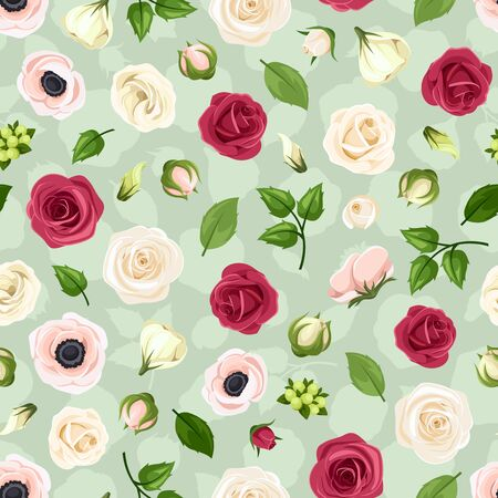 Vector seamless pattern with red, pink and white roses, lisianthuses and anemone flowers on a green background.