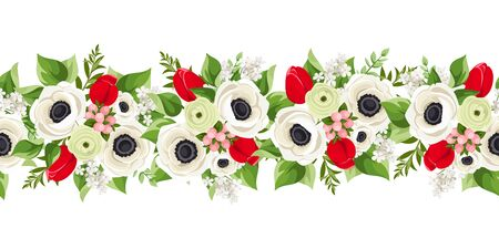 Vector horizontal seamless garland with red tulips, white anemone flowers and green leaves.
