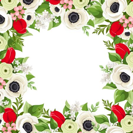 Vector background frame with red tulips, white anemone flowers and green leaves.