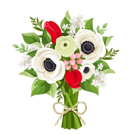 Vector bouquet with red tulips, white anemone flowers and green leaves isolated on a white background.