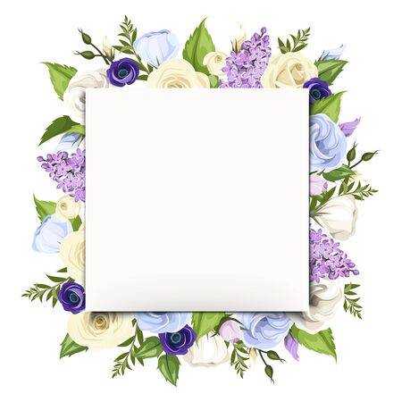 Vector white greeting card with blue, purple and white roses, lisianthuses, anemones, lilac flowers and green leaves. Vector Illustratie
