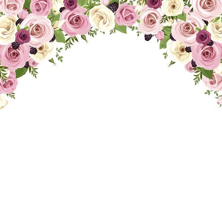 Vector background border with pink and white roses, lisianthus flowers, blackberries and green. Illustration