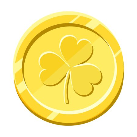 Vector gold coin with shamrock leaf isolated on a white background.