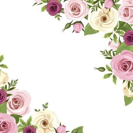 Sfondo vettoriale o carta di invito con rose rosa e bianche e fiori di lisianthus e more. Vettoriali