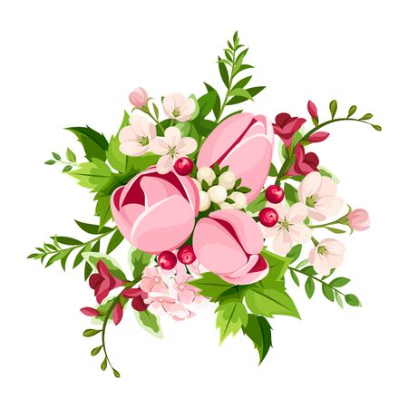 Vector bouquet of pink tulip and freesia flowers isolated on a white background.