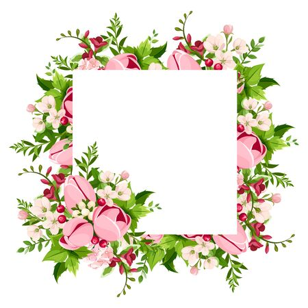 Vector greeting or invitation card with pink tulip and freesia flowers. Vectores