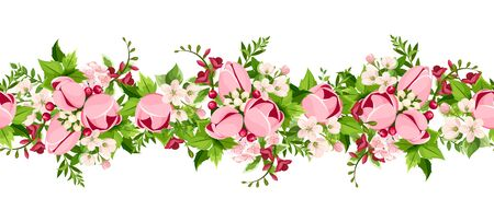 Vector horizontal seamless border with pink tulip and freesia flowers on a white background.