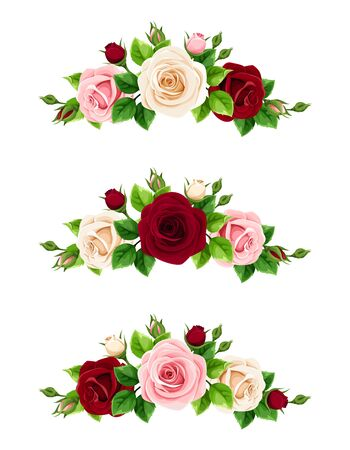 Vector set of pink, burgundy and white roses decorative elements isolated on a white background.