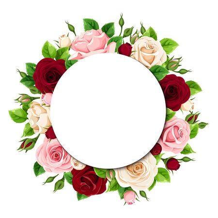 Vector greeting or invitation circle card with pink, burgundy and white roses.