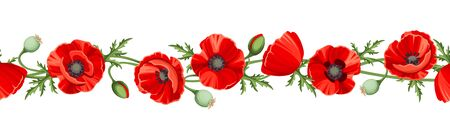 Vector horizontal seamless border with red poppy flowers on a white background.