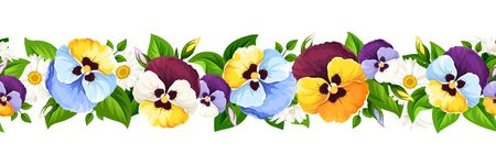 Vector horizontal seamless border with colorful pansy flowers.
