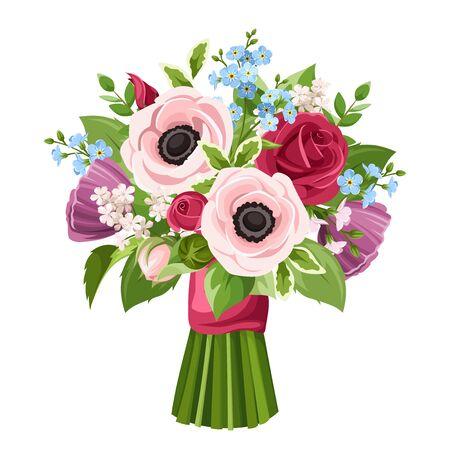 Bouquet vectoriel d'anémones rouges, roses, violettes et bleues, de roses et de fleurs myosotis isolées sur fond blanc.