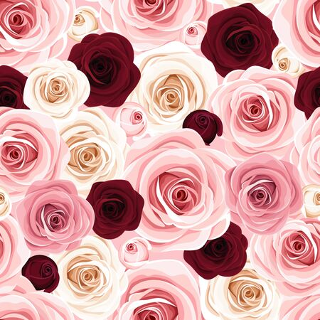 Vector seamless  texture with pink, burgundy and white roses.