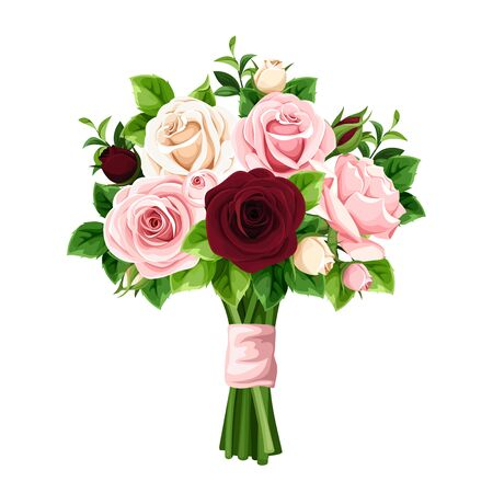 Vector bouquet of pink, burgundy and white roses isolated on a white background. Illustration