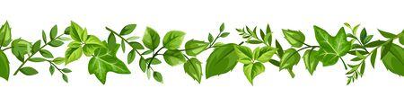 Horizontal seamless border with various green leaves. Vektorgrafik