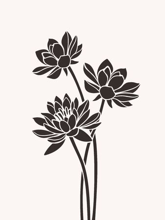 Vector brown silhouettes of lotus flowers. Vectores