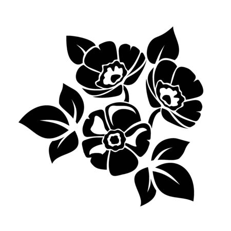 Black silhouette of flowers isolated on a white