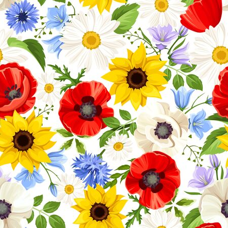 Vector seamless pattern with colorful flowers (sunflowers, poppies, daisies, bluebells and cornflowers). Ilustración de vector