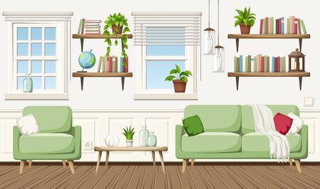 Vector cozy living room interior with a sofa, an armchair, a table and bookshelves.