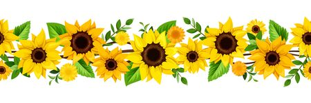 Vector horizontal seamless border with yellow sunflowers and green leaves. Векторная Иллюстрация
