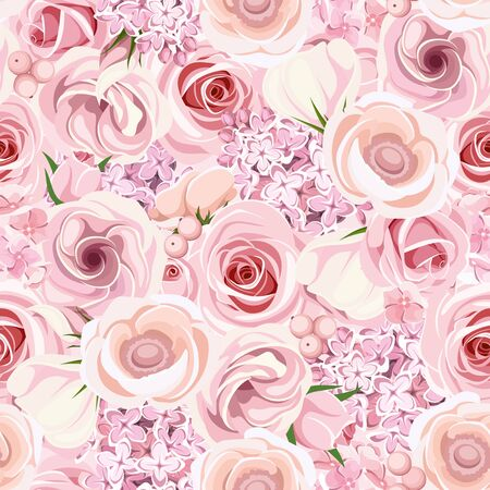 Vector seamless background texture with pink roses, lisianthuses, anemones, lilac and hydrangea flowers. Illustration