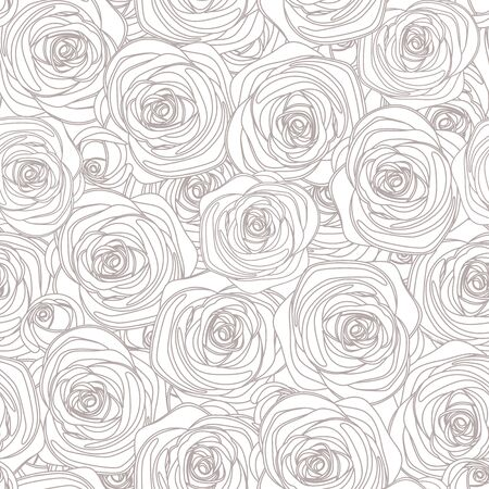 Seamless line art gray and white pattern with roses. Illustration