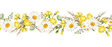 Vector horizontal seamless border with white daisies and yellow wild flowers and ears of wheat. Vecteurs
