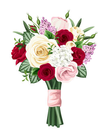 Vector bouquet of red, pink and white roses, lisianthuses and lilac flowers isolated on a white background. Illustration