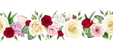 Vector horizontal seamless border with red, pink and white roses, lisianthuses and lilac flowers on a white background. Illustration