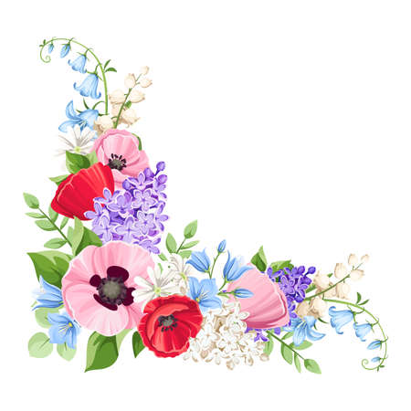 Vector floral corner with red, pink, blue and purple poppies, lilac flowers and bluebells isolated on a white background. Vectores
