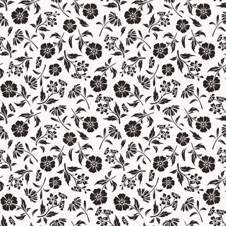 Vector seamless black and white floral pattern with various flowers. Vectores