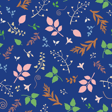 Vector seamless floral pattern with colorful leaves on a blue background.