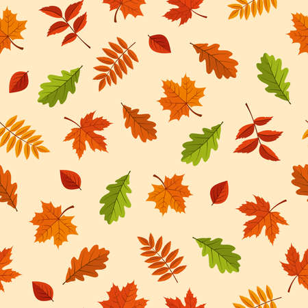 Vector seamless pattern with red, orange, brown and green autumn leaves on a yellow background.