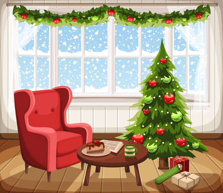 Vector Christmas living room interior with fir-tree, armchair and snowfall outside the window.