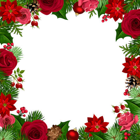 Christmas frame with red roses, poinsettia flowers, balls, holly, cones and fir branches.