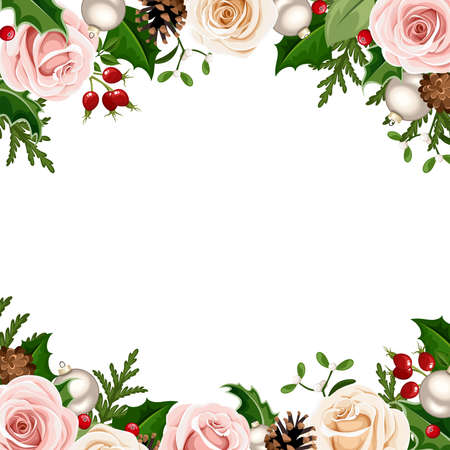 Vector Christmas background frame with pink, white and green roses, balls, holly, cones and fir branches. Vector Illustration