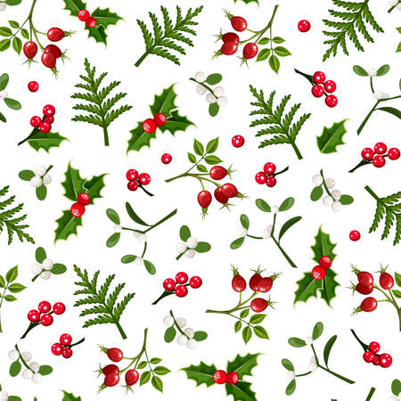 Vector Christmas floral seamless pattern with holly, mistletoe, rosehip and fir branches on a white background. Vektorové ilustrace