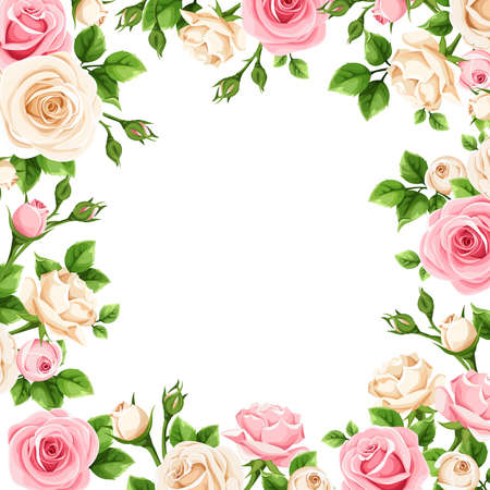 Frame with pink and white rose flowers.