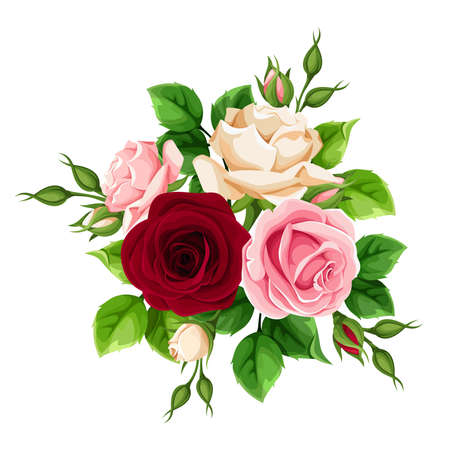 Bouquet of burgundy, pink and white rose flowers