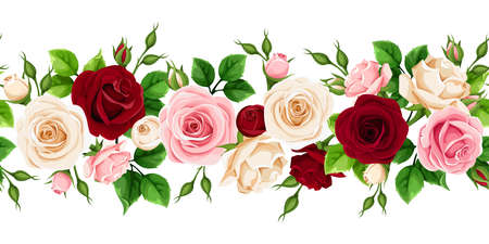 Border with red, pink and white roses and green leaves