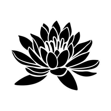 Black silhouette of a lotus flower