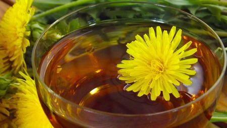 Useful dandelion flower.Making tea. Stock Photo