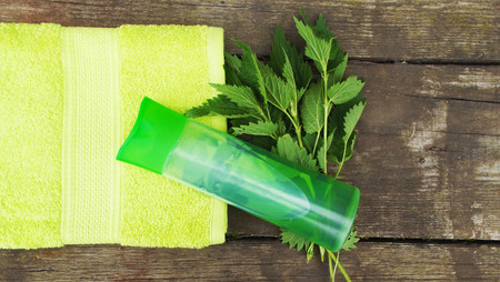Shampoo for hair with nettle extract.